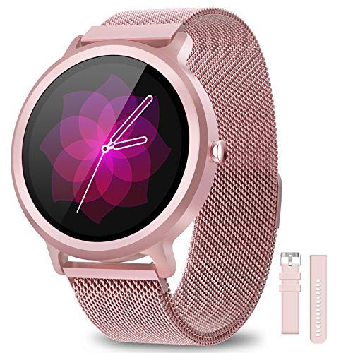 BANLVS Smartwatch Donna IP68, Orologio Fitness 24 Modalità Sportive Sonno Cardiofrequenzimetro Notifiche Messaggi, Smartwatch Activity Tracker Per And