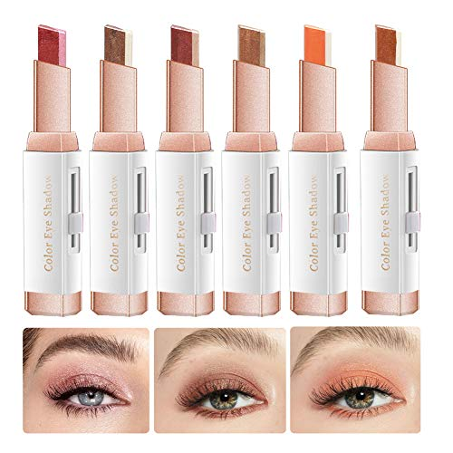 12 Farben Eyeshadow Sticker, Doppelfarben Lidschattenstift Natural Glitter Shimmer Gradient Makeup Wasserdichter Lidschatten (6 Stück)