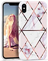 Imikoko iPhone X ケース iPhone XS ケース大理石 ジオメトリー ソフト 女性向け 綺麗 かわいい ストラップホール付き 耐衝撃 薄型 軽量 スマホケース (アイフォンX/XS 赤花)
