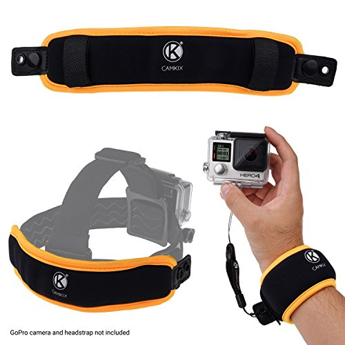 CamKix 2in1 drijvende polsband en hoofdband Compatibel met GoPro Hero 8, 7, 6, 5, Zwart, Session, Hero 4, Session, Zwart, Zilver, Session, Hero + LCD, 3+, 3