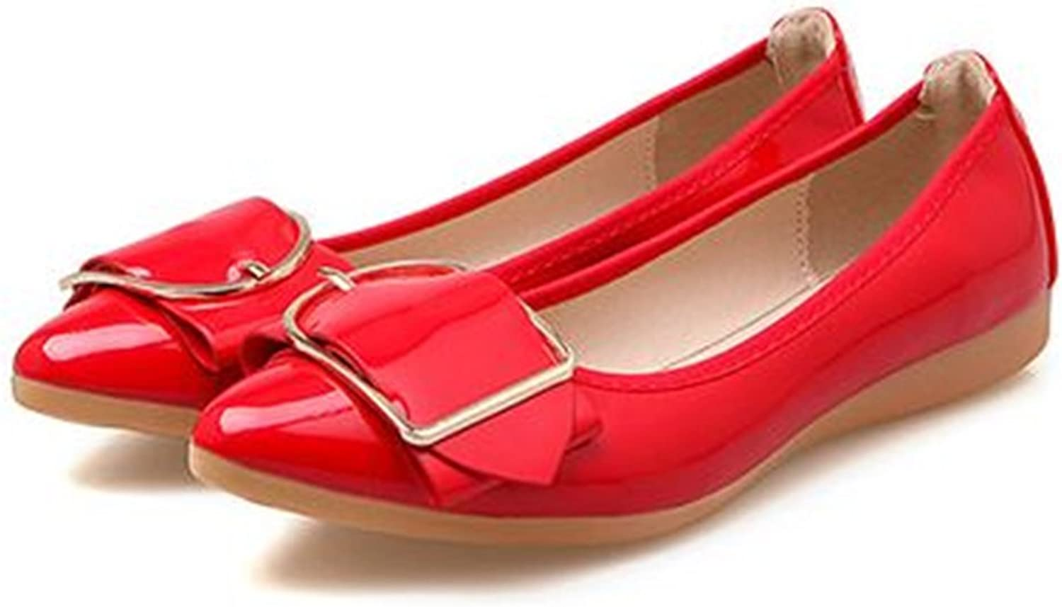 Fancyww Women's Slip On Flats Pointy Toe Buckle Decor Patent Leather Wedding Ballet shoes