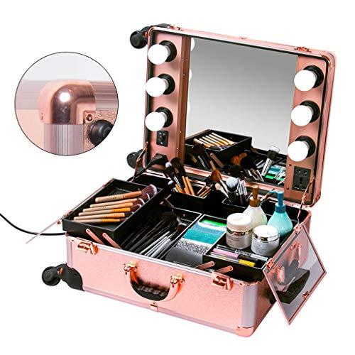 Cosmetico Professionele make-uptafel met ledlicht met metalen hoek van het metaal uit de metalen doos. white light PINK