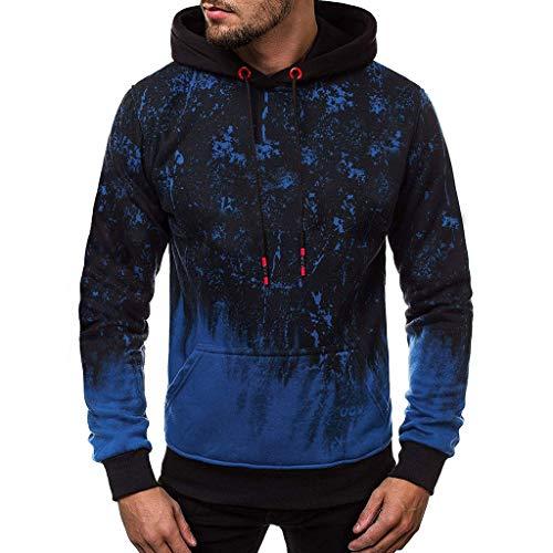 DNOQN Sportshirt Herren T Shirt Topshop Poloshirt Mode Herbst Winter Drucken Sportswear Warm Pullover Langarm Bluse Blau XXXL