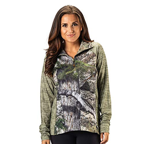 TrailCrest Women's Long Sleeve 1/4 Zip Camo Shirt – Moisture Wicking, 4 Way Stretch – Perfect Outwear and Fitness Apparel