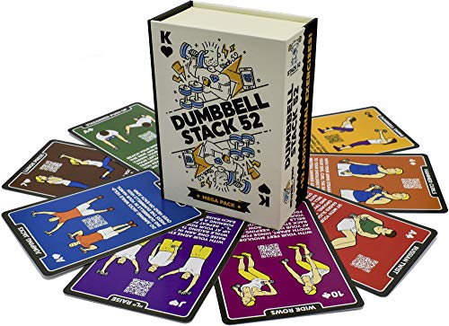 Stack 52 Dumbbell Exercise Cards. Dumbbell Workout Playing Card Game. Video Instructions Included. Perfect for Training with Adjustable Dumbbell Free Weight Sets and Home Gym Fitness. (2019 Mega Pack)