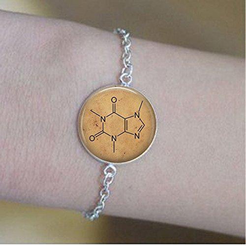 BAB Coffee Koffein Chemie Molekül – Kaffee Schmuck – Java – Koffein Armbänder – I Love Koffein – Vintage Koffein Molekül