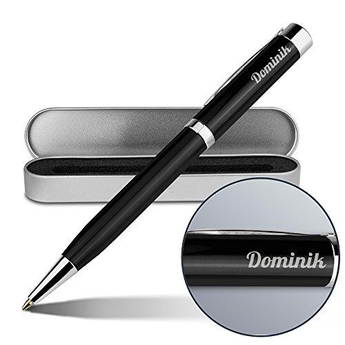 Kugelschreiber mit Namen Dominik - Gravierter Metall-Kugelschreiber von Ritter inkl. Metall-Geschenkdose