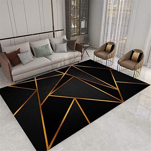 Kunsen 0 0 Sala de Estar Restaurante Alfombra Gris Alambre de Oro triángulo geométrico Moderno Alfombra antiincrustante Anti-ácaros Grande Alfombra Grande 0 60x90cm