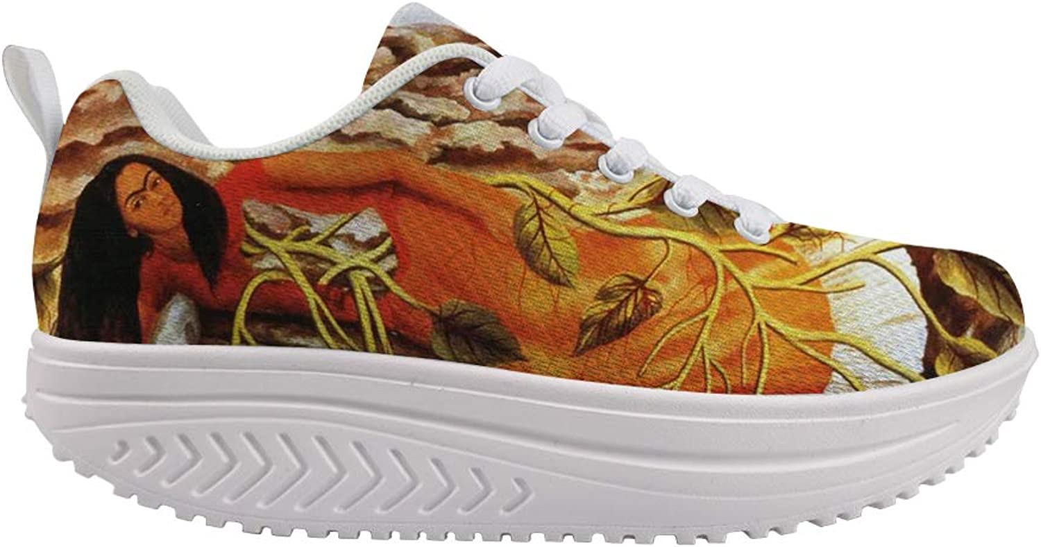 Owaheson Swing Platform Toning Fitness Casual Walking shoes Wedge Sneaker Women Mexican Female Painter Frida Kahlo Lying Down Tree of Life