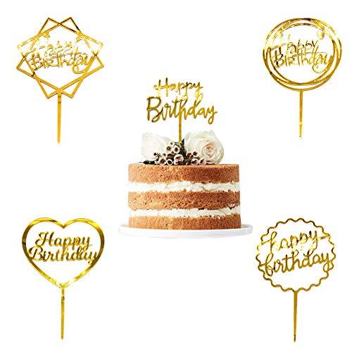 SwirlColor Cake Topper Happy Birthday, Acryl Gold Cake Topper für Geburtstagstorte Dekoration 5pcs