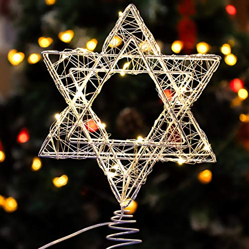 Star of David Hanukkah Christmas Rattan Tree Topper with Warm White LED String, Wire Weaving, Battery Powered, 7'' Star Tree Topper for Chanukah, Diwali, Birthday, Wedding, Parties & Home
