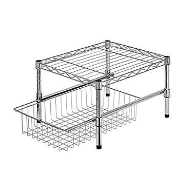 Honey-Can-Do SHF-01867 Adjustable Shelf with Under Cabinet Organizer, Chrome