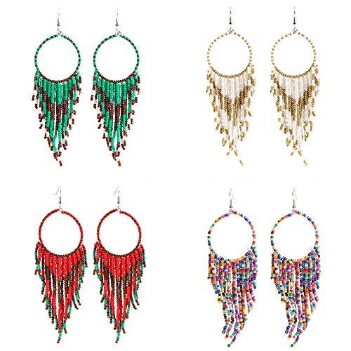 Mountainer 4 Pairs Handmade Seed Beaded Circle Drop Earrings Bohemian Long Tassel Dangle Earrings for Women