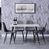 <span class='highlight'><span class='highlight'>GOLDFAN</span></span> Glass Dining Table and 4 Chairs Marble Effect Kitchen Table and 4 Fabric Padded Chairs,120CM/White and Grey