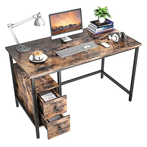 Nisear Escritorio de Computadora, Mesa de Ordenador Escritorio Estructura de Acero con Cajón, Mesa de Estudio Portátil Grande para Oficina en Casa