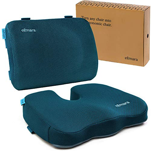 Elmara Support Cushion Set - Designed by a Doctor with Ideal Thickness for Lower Back! Memory Foam Seat Cushion for Back Pain - Lumbar Support Pillow for Car - Lower Back Support for Office Chair