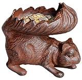 Esschert Design Futterschale, Vogeltränke Motiv Eichhörnchen, ca. 15 cm x 11 cm x 14 cm