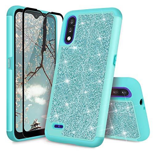 TJS compatible con LG K22, LG K22+/ LG K22 Plus, funda para LG K32, con protector de pantalla de cristal templado con purpurina, diseño de doble capa híbrida resistente (azulado)