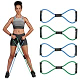 RENRANRING Figure 8 Fitness Resistance Bands with Handles - Exercise Tube Band Set of 4 for Arm and Shoulder Stretch