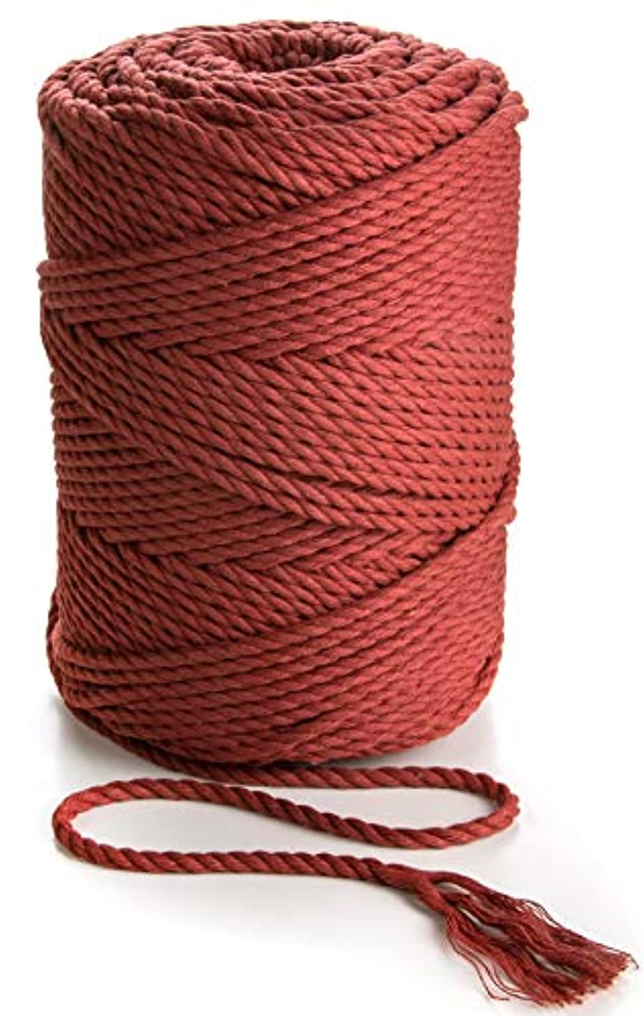 Macrame Cord 4mm Cotton Rope Cinnamon Red (Bordo) 492 feet Soft Cotton Macrame Cord Crafts Cord (Cinnamon Red (Bordo))