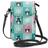 Lsjuee Bolso bandolera pequeño para teléfono móvil para mujer, cartera para teléfono inteligente con hombro extraíble para hacer compras con pingüinos infantiles y copos de nieve, color negro