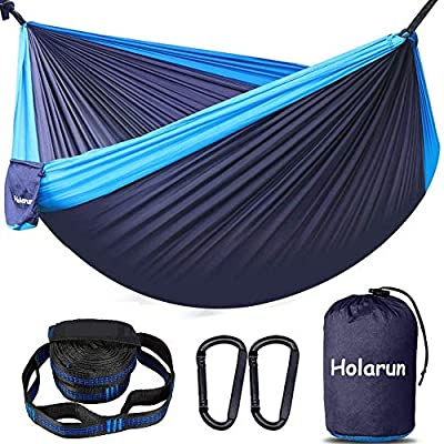 Holarun Hammock, Double Camping Hammock for 2 Adult Lightweight Parachute Hammock with Tree Straps (8+1 Loops)& Carabiners, Portable Nylon Hammock for Kid, Backpacking, Hiking, Yard Garden, Travel