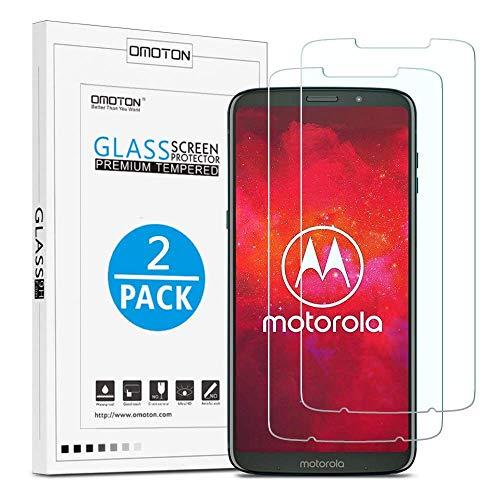 OMOTON [2 Stück] Panzerglas Schutzfolie für Moto Z3 Play, Hülle fre&lich, 9H Festigkeit, Anti-Kratzen, Anti-Öl, Anti-Bläschen, Bildschirmschutz für Motorola Moto Z3 Play