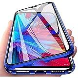 Onlycase Funda para Xiaomi Redmi Note 8T, 360 Grados Delantera y Trasera de Transparente Vidrio Templado Case Cover, Fuerte Tecnología de Adsorción Magnética Metal Bumper Cubierta