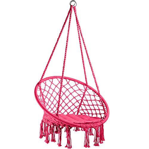TecTake 800689 Hängesessel zum Aufhängen, inkl. bequemes Sitzkissen, max. 100 kg belastbar, für draußen und drinnen geeignet - Diverse Farben - (Pink | Nr. 403341)