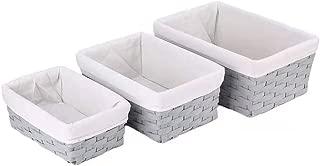 Hosroome Handmade Bathroom Storage Baskets Set Shelf Baskets with Liner Woven Decorative Home Storage Bins Decorative Baskets Organizing Baskets Nesting Baskets(Set of 3,Grey)
