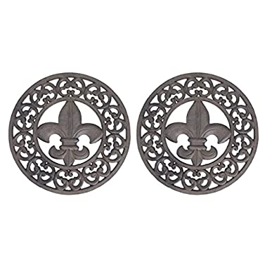 Cast Iron Trivets Set Of 2 Distressed Finish Cast Iron Fleur De Lis 10 Inch Table Trivets 10 X 1 X 10 Inches Brown
