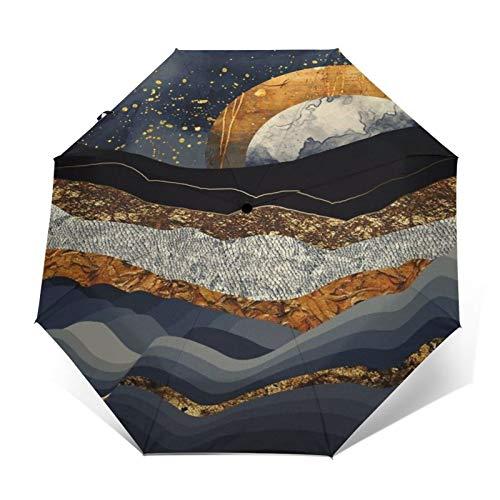SUHETI Regenschirm Taschenschirm,3D Stereo Art Sticker Bilder,Golden Grey Black Mountain und Golden Moon,Auf Zu Automatik,windsicher,stabil