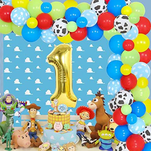 Toy Inspired Story - Kit guirnalda globos 1er cumpleaños, diseño dibujos animados color rojo, amarillo y azul, fondo nube y globos vaca niños, suministros fiesta primer cumpleaños
