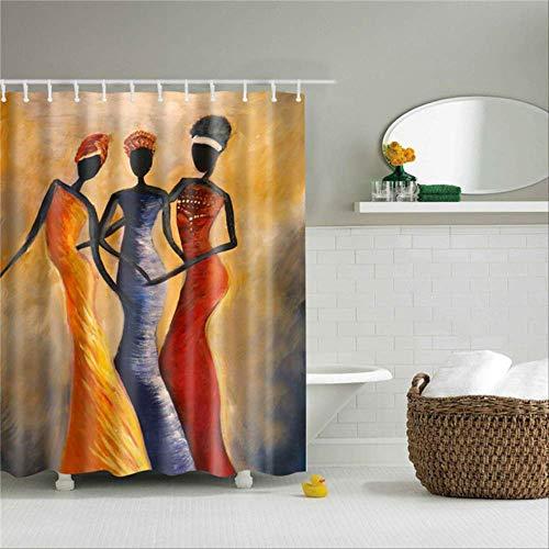 LEELFD Cortinas de Ducha africanas abstractas Imprime Cortinas de poliéster de Tela para baño Ganchos de Cortina de baño Impermeables Decoración a Prueba de Moho 180x200cm TZ170324