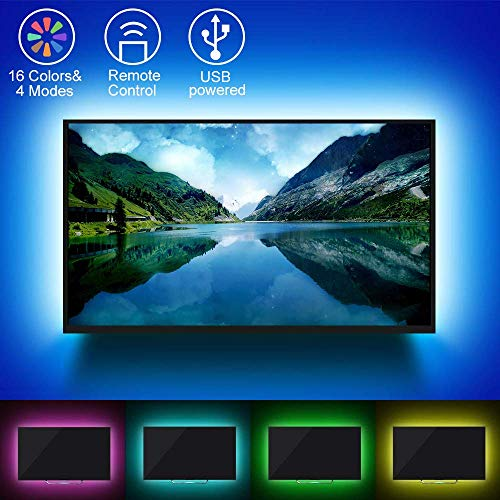 Ruban à LED TV,USB LED Ruban Avec télécommande à 24 boutons, Ruban LED TV Convient aux téléviseurs haute définition, écrans de télévision et écrans d'ordinateur de 40 à 60 pouces