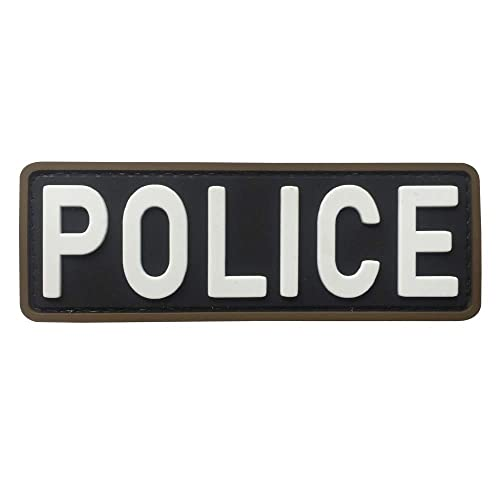 9 by 5 POLICE Medium Gold on  Navy Blue Back Panel Patch 9 X 5