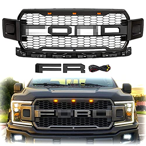Front Grill For F150 2018 2019 2020 Raptor Style Matte Black with 3 LED Amber Lights +F & R Letters (Without Side Lights)