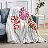 YUAZHOQI Colorful Sherpa Fleece Throw Blanket Lolly Pops on Sticks Blanket for Bedding Sofa and Travel 60' x 80'
