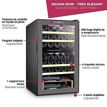 La-Sommelire-Weinkhlschrank-Dual-Zone-fr-33-Flaschen-Vibrations-und-Feuchtigkeitsregulierung-Schwarz-mit-LED-Innenbeleuchtung
