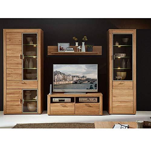Lomadox Massivholz Wohnzimmer Mediawand Wohnwand Wildeiche inkl. LED, montierte Möbel