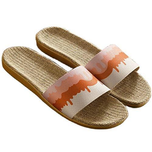 Zapatillas De Casa,Flax Suaves Y Cómodas Zapatillas Mujeres Hombres Suaves Zapatos Domésticos De Verano Antideslizantes Casuales Femeninos Diapositivas Sandalias De Mujer Ropa De Cama Interior Cha