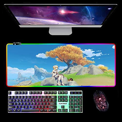 Alfombrilla de ratón RGB para juegos Alfombrilla de ratón grande Genshin Impact con base de goma antideslizante, alfombrilla de ratón para juegos para PC, computadora portátil, escritorio 1000x500x4mm