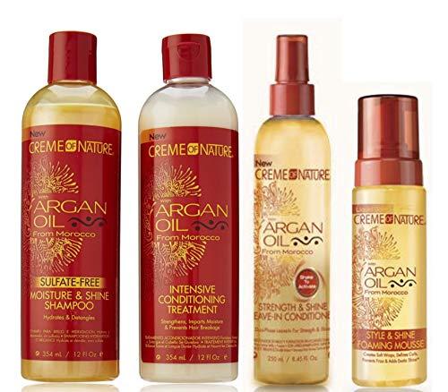 Crème Of Nature Lot de 4 soins capillaires à l'huile d'argan - shampoing sans sulfates/après-shampoing soin/après-shampoing sans rinçage/mousse coiffante brillance