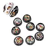 8 pezzi 3D decorazioni per unghie artistiche strass per unghie gemme perline di cristallo glitter serie a tema natalizio per le donne ragazza