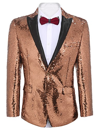COOFANDY Shiny Sequins Suit Jacket Blazer One Button Tuxedo For Party,Wedding,Banquet,Prom,Nightclub, Rose Gold, Large