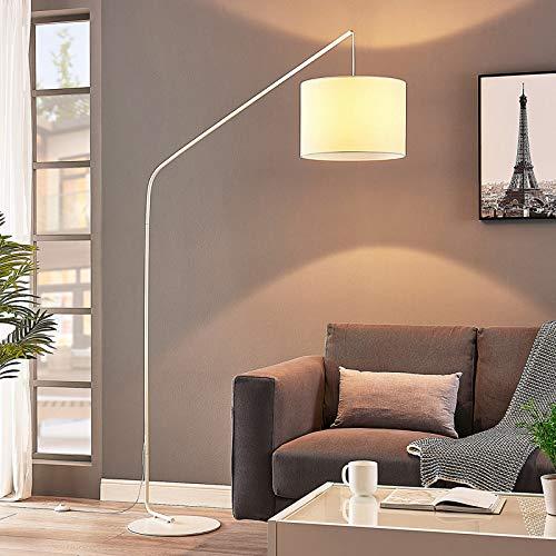 Lámpara de pie 'Viskan' (Moderno) en Blanco hecho de Textura, Tela, Tejido, Seda e.o. para Salón & Comedor (1 llama, E27, A++) de Lindby | lámpara de arco, lámpara de pie