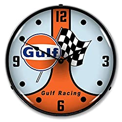Gulf Racing GT40 LED Wall Clock, Retro/Vintage, Lighted, 14 inch