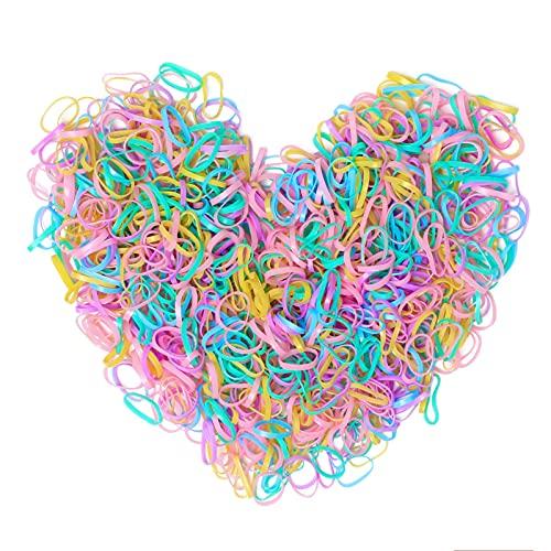 Cooetr 1000 Stück Haargummis Mehrfarbige Mini Elastische Haargummis bänder,für Weiche Elastische Bänder für Kinderhaar,Kinder Mädchen Damen Zöpfe, Hochzeit, Frisur und Mehr