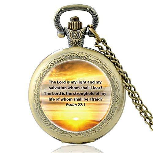 SWAOOS Versículo De La Biblia El Señor Es Mi Luz Y Mi Salvación A Quien Temeré Reloj De Bolsillo De Cuarzo Hombres Mujeres Colgante Collar Horas Reloj