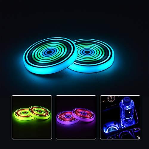 2x Sottobicchiere di LED Sottobicchiere di Luce Portabicchieri di LED per Auto, IP67, 7 Colori Luminescente Sottobicchiere di Ricarica USB per Bevanda Accessori Decorazione d'Interni Luce Atmosferica